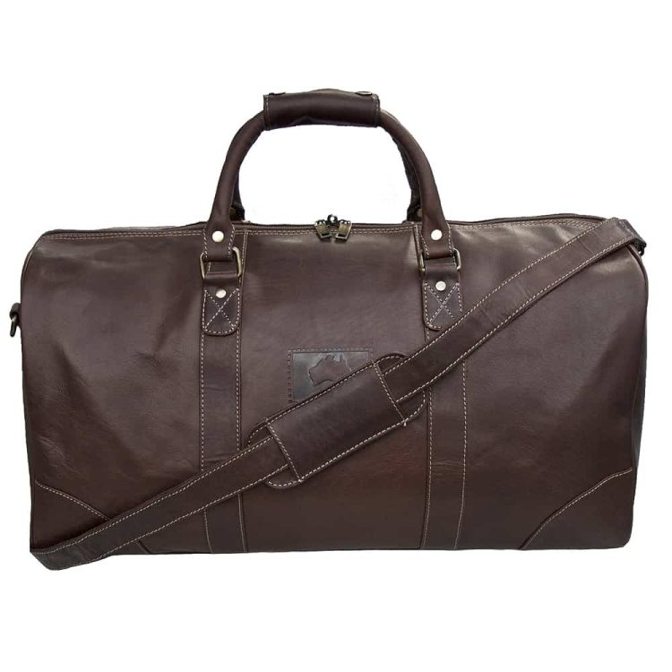 Outback Brown Leather Holdall Travel Bag - 9001