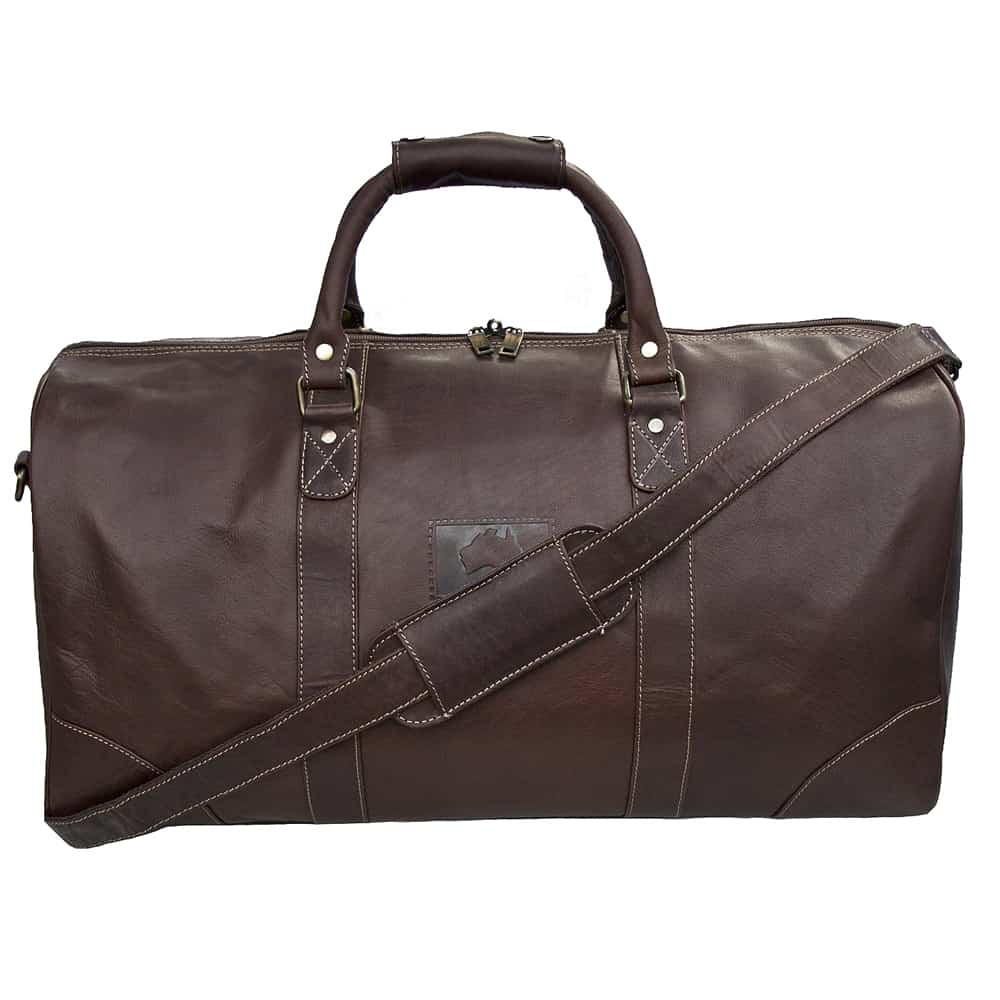 11Outback Brown Leather Holdall Travel Bag - 9001