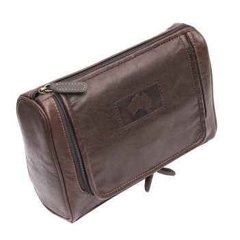 WombatLuxury Brown Outback Leather Hanging Wash Bag / Toiletry Bag