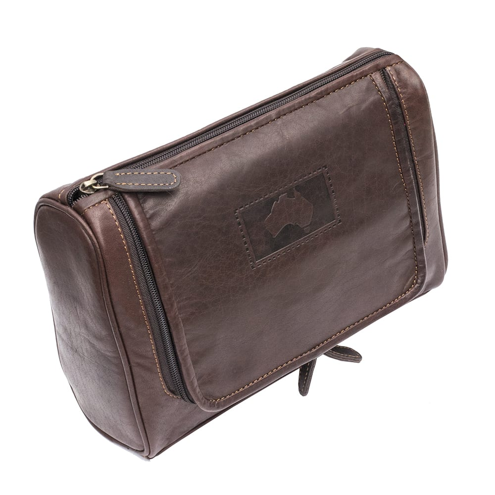 Luxury Brown Outback Leather Hanging Toiletry Bag 0c040db4ff3a0