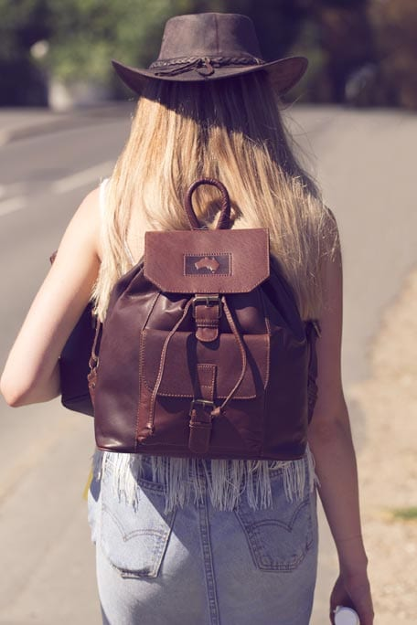 """""""Outback"""" Luxury Soft Oiled Brown Leather Backpack"""