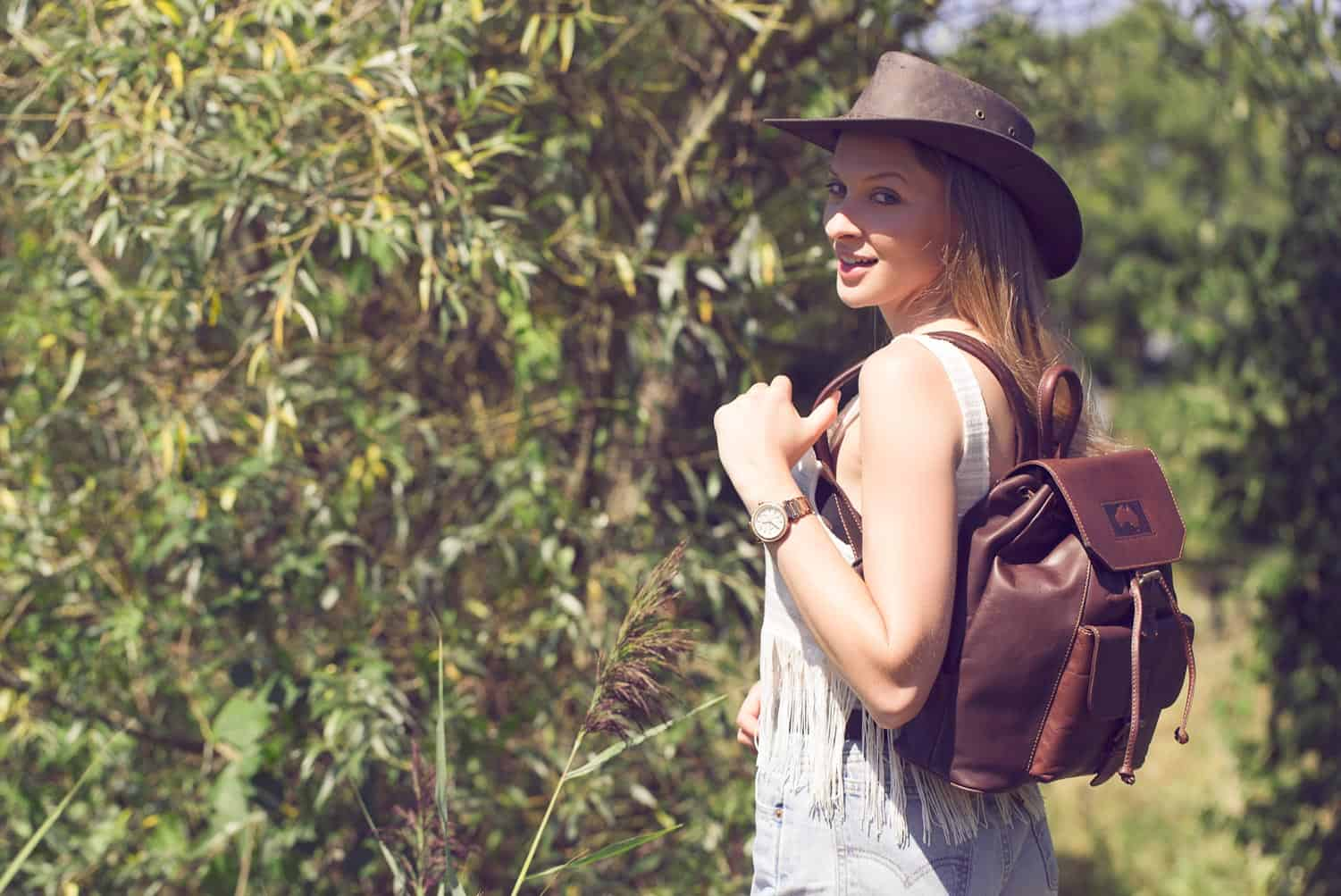 """Outback"" Luxury Soft Oiled Brown Leather Backpack"