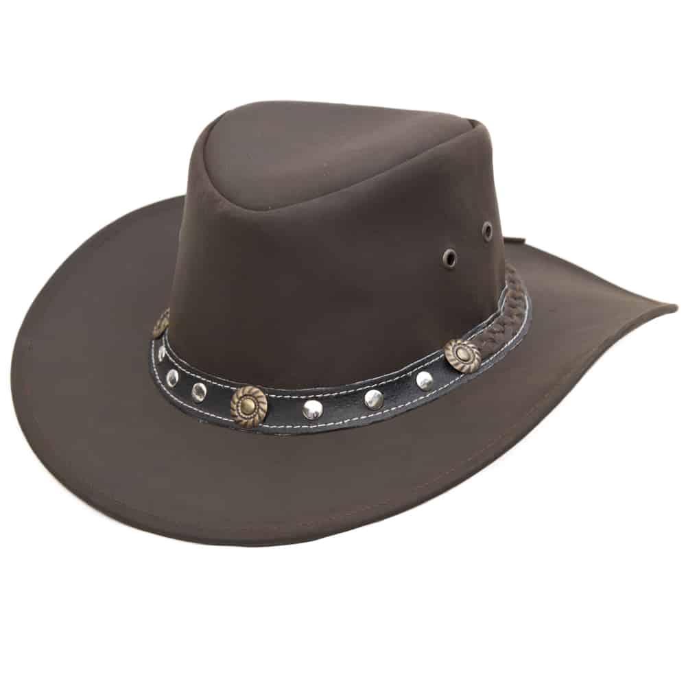11Wombat Ranger Soft Brown Full Grain Leather Cowboy Hat