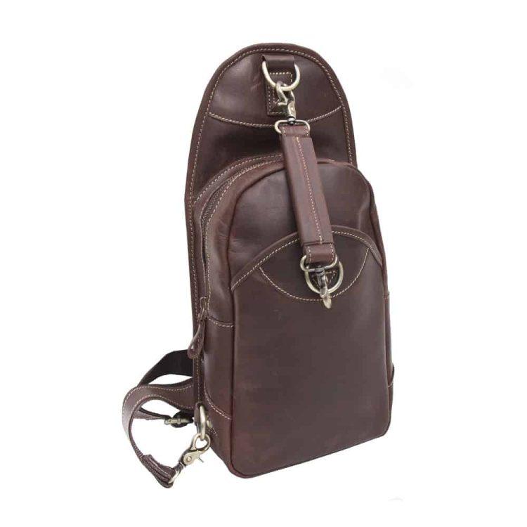 Wombat Brown Hunter Leather Sling Backpack Bag