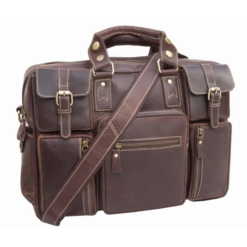 Wombat Hunter Leather Multi Pocket Travel Bag