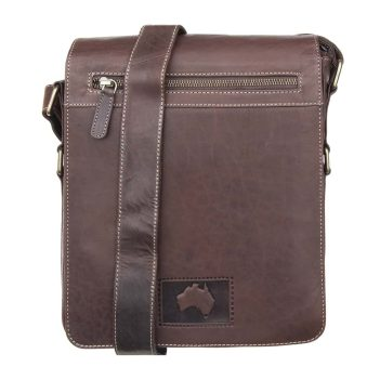 wombat Luxury Brown Oiled style Leather Netbook, Kindle, ipad Flapover Messenger Bag