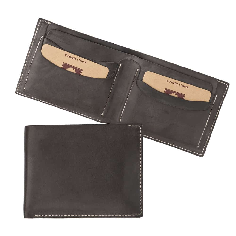 11Wombat Men's Rugged Thick Brown Leather Wallet - 001
