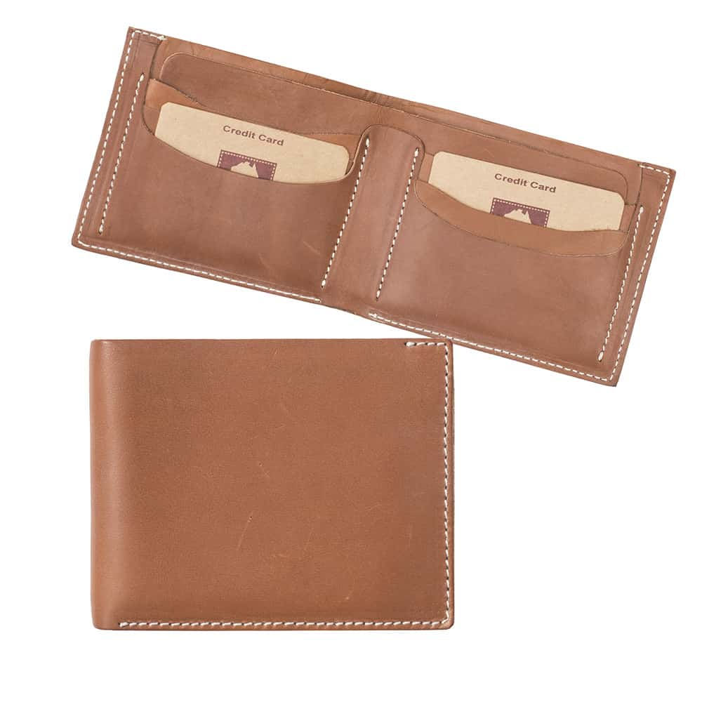 11Wombat Men's Rugged Thick Tan Leather Wallet - 001