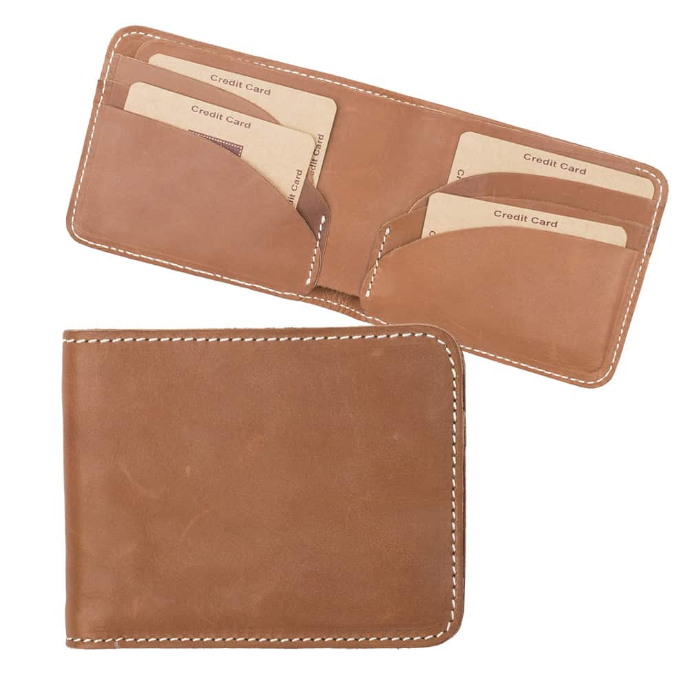 11Wombat Men's Rugged Thick Tan Leather Wallet - 002