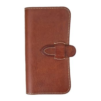 Ladies Natural Brown Italian Leather Large Wallet Purse