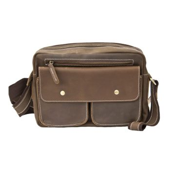 Brown Hunter Leather Small Travel Pouch Bag / Cross Body Bag - 6931