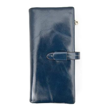 Artisan Range Ladies Soft Large Navy Leather Purse - Detachable Zipped section