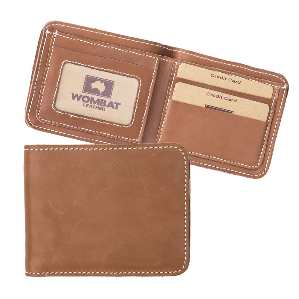 11Wombat Men's Rugged Thick Tan Leather Wallet - 004