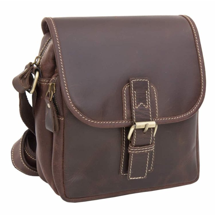 Wombtat Oiled Leather Small Travel Bag / Outdoor Crossbody Bag - 6089