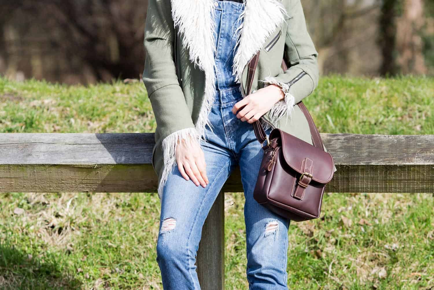 Oiled Leather Small Travel Bag / Outdoor Crossbody Bag