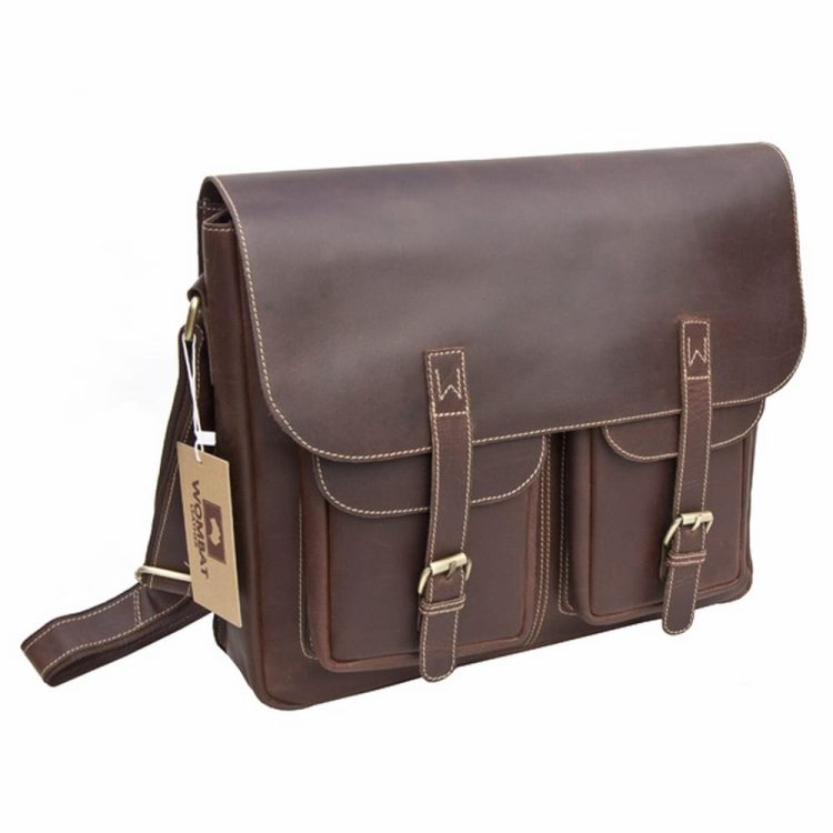 wombat Luxury Oiled Brown Leather Large Outdoor Flapover Bag