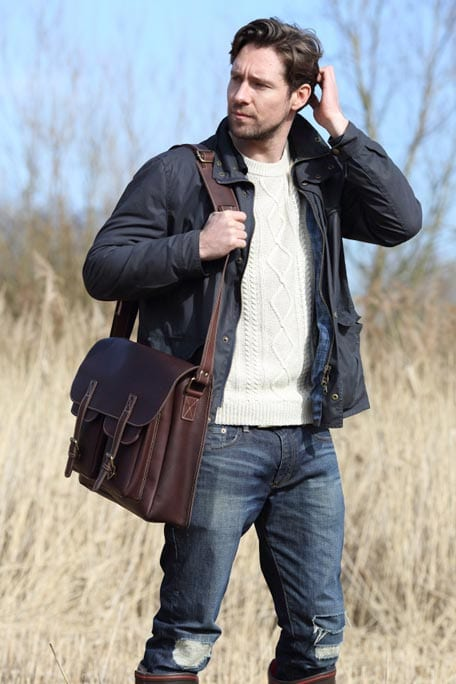 Oiled Brown Leather Large Outdoor Flapover Bag