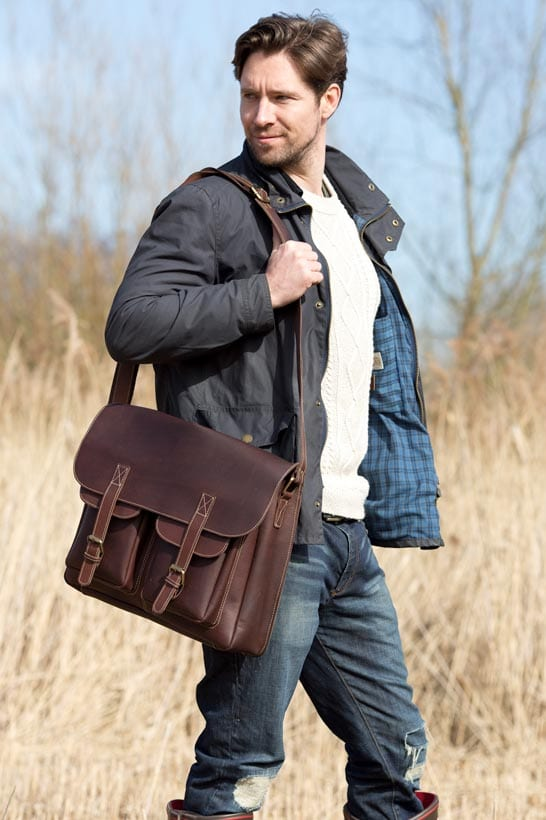 Luxury Oiled Brown Leather Large Outdoor Flapover Bag
