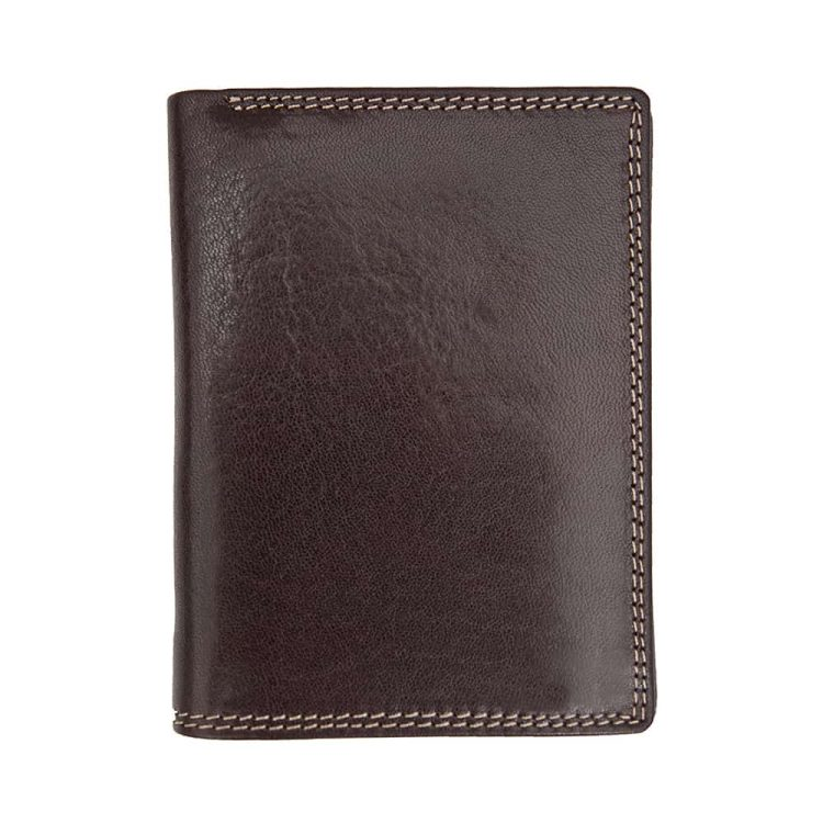 Wombat Men's Artisan Luxury Italian Brown Leather Wallet - Removable Section