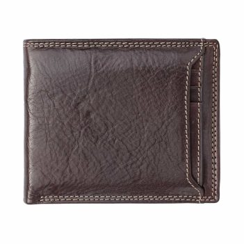 11Wombat Artisan Luxury Italian Brown Leather Wallet With a Poppered Front Section