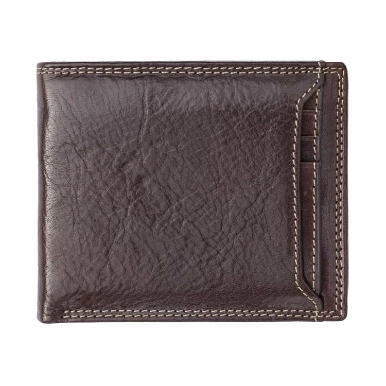 Wombat Artisan Luxury Italian Brown Leather Wallet With a Poppered Front Section