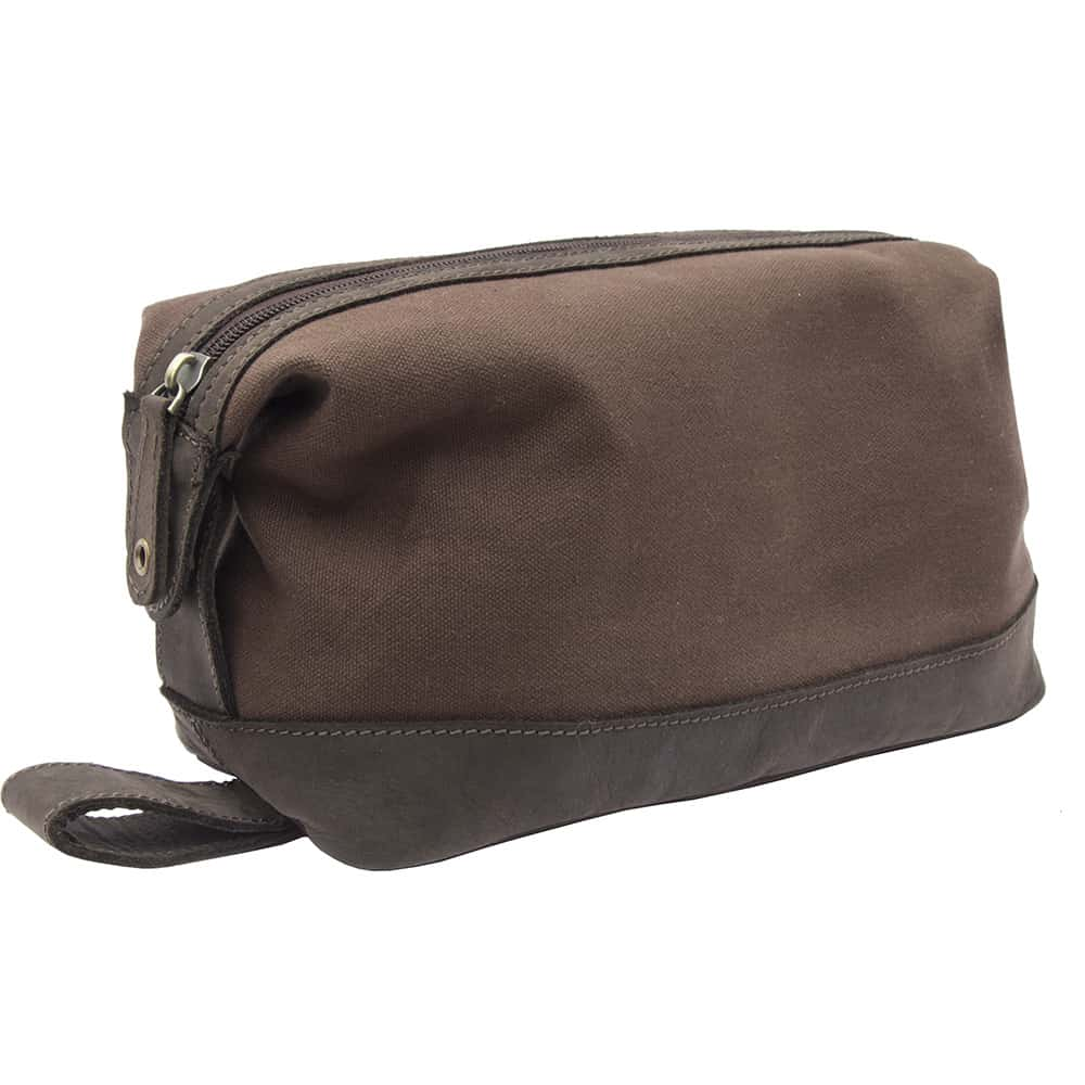 11wombat Waxed Canvas and Leather Wash Bag