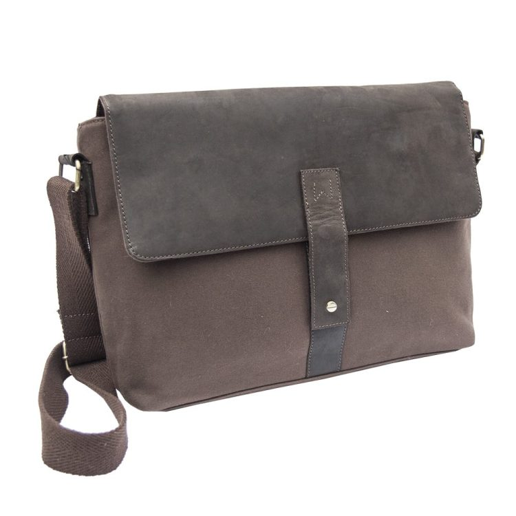Waxed Canvas and Leather Messenger Bag
