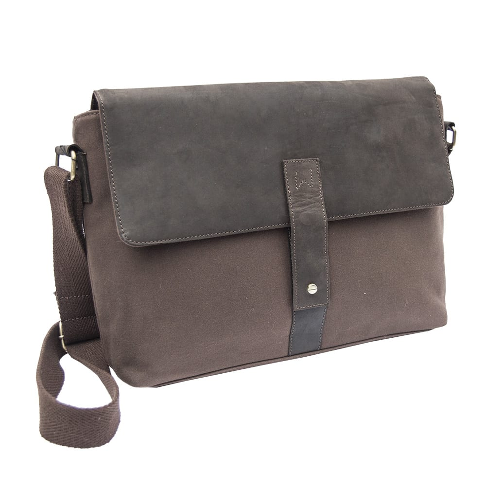 11Waxed Canvas and Leather Messenger Bag