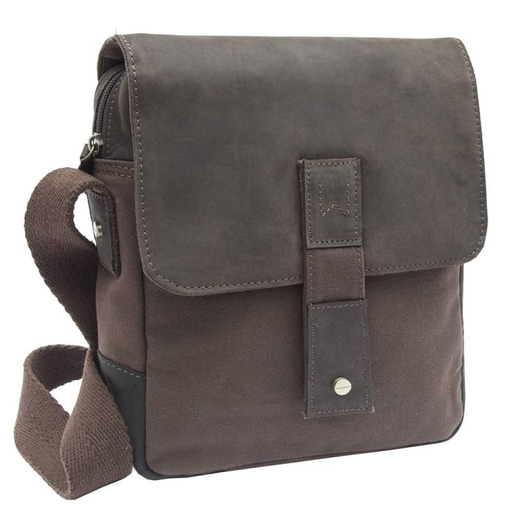 wombat Waxed Canvas and Leather Crossbody Bag