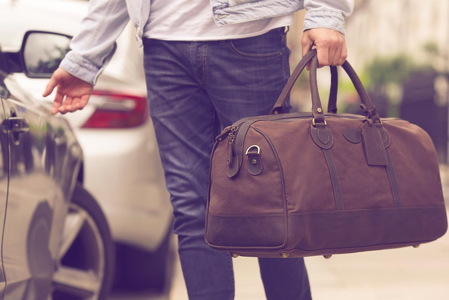 Large Waxed Canvas and Leather Holdall