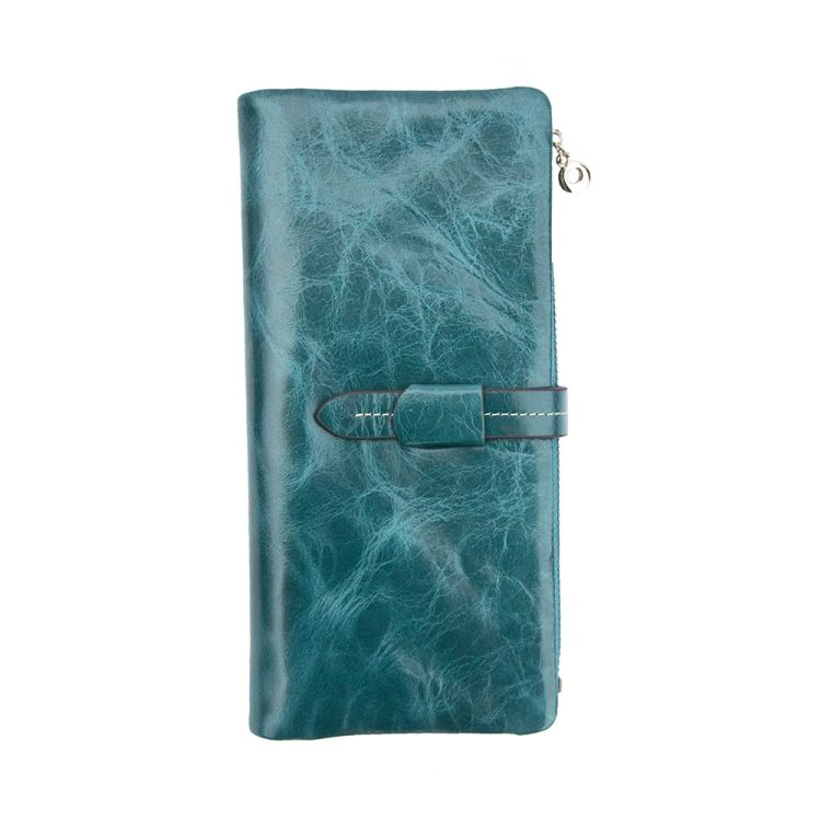 wombat Artisan Range Ladies Soft Large Turquoise Leather Purse - Detachable Zipped section