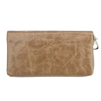 wombat Artisan Range Ladies Soft Beige Leather Purse with Detachable Popper Section